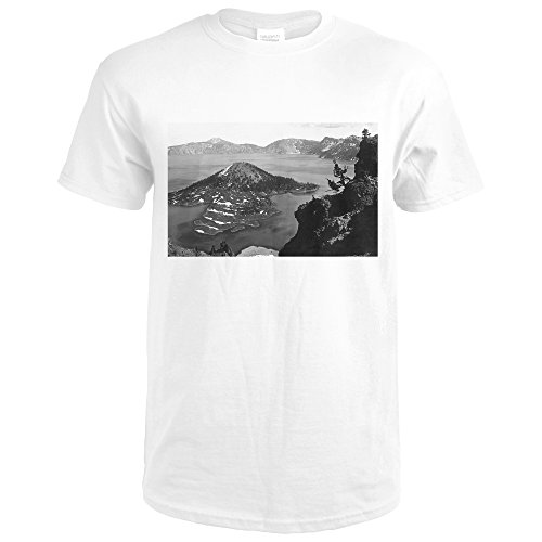 Crater Lake, Oregon - Aerial View of Wizard Island 13008 (Premium White T-Shirt X-Large)