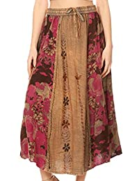 Sakkas Maran Women's Boho Embroidery Skirt with Lace Elastic Waist and Pockets