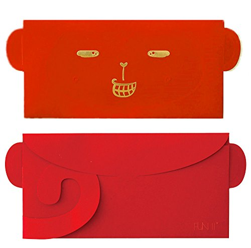 FUN II monkey tail foldable red envelope, lucky money, certificate envelope, hanging mural wall decor, invitation card, greeting card, 8.3
