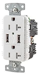 Bryant Electric USBB20W 3.8 Amp High Power Dual USB Charger, 20 Amp 125 Volt Tamper Resistant Duplex Receptacle, White