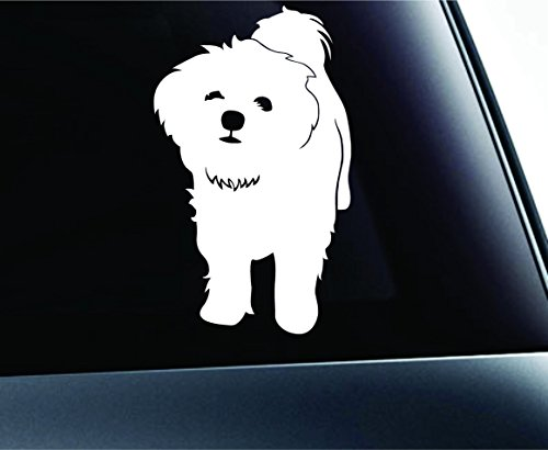 ExpressDecor Maltese Symbol Decal Paw Print Dog Puppy Pet Family Breed Love Car Truck Sticker Window (White)