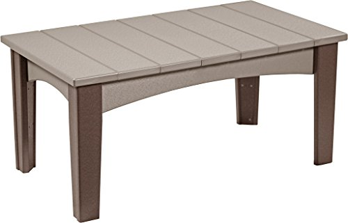 Poly Lumber Wood Island Coffee Table - Weatherwood and Brown (Coffee Adirondack Table)