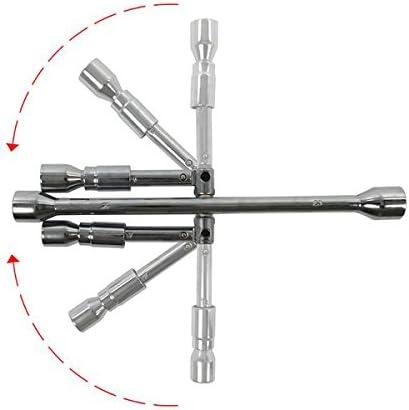 Apt Radmutternschlüssel 17mm Bis 19mm Radkreuz Qualitätsstahl Radschlüssel Faltbar Kreuzschlüssel Auto