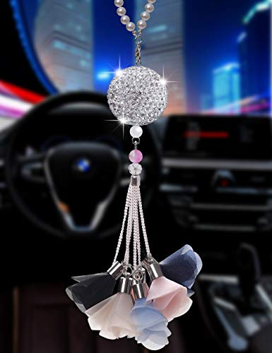 Bling Car Accessories Colorful Crystal Hanging Ornament Car Rear View Mirror Pendant Auto Accessories Interior Pendant (Crystal Ball – Flower-A)