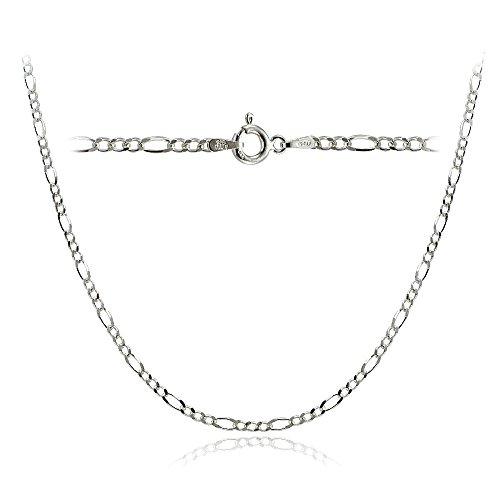 Bria Lou 925 Sterling Silver 2.5mm Italian Figaro Link Chain Necklace 20 (Figaro Sterling Silver Ring)