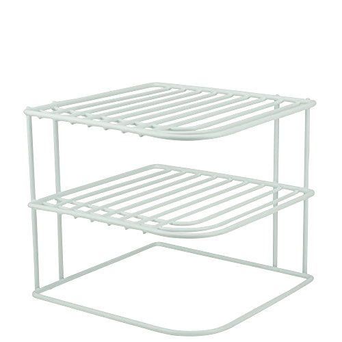 Plate Organizer - DecorRack 1 Countertop Corner Shelf Organizer, 3-Tier Heavy Duty Corner Rack, Counter and Cabinet Corner Helper Shelf, Free Standing Rack for Kitchen Counter Pantry and Cupboards, White