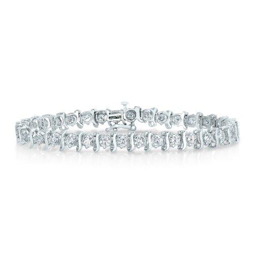Vir Jewels IGI Certified 14K White Gold Diamond Bracelet 4 CT S-Link I2 Clarity