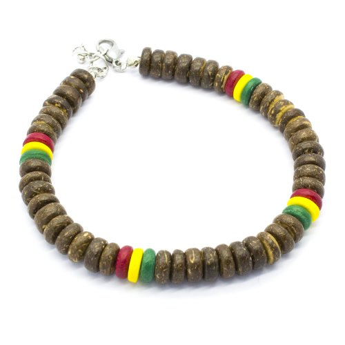 Rasta Bracelet with Natural Brown Coco Pukalet Beads with Lobster Lock (8 (Pukalet Natural)
