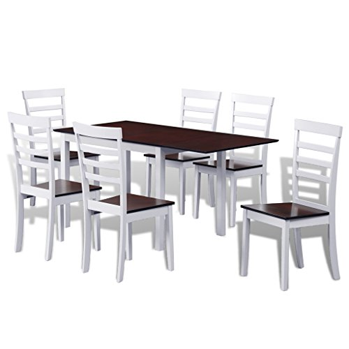 SKB Family Brown White Solid Wood Extending Dining Table Set with 6 Chairs (Table Extending Set Dining)