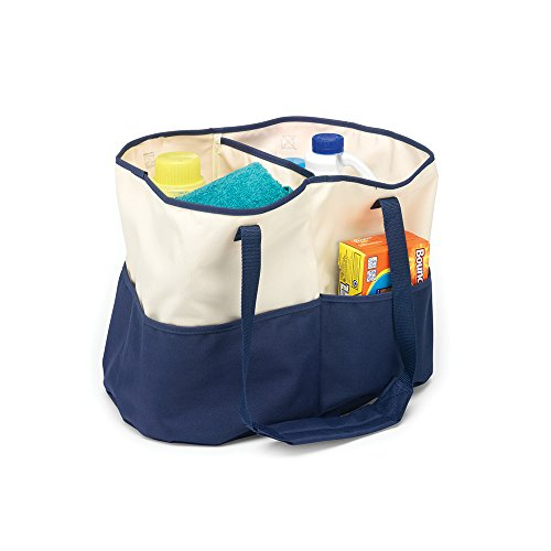 Homz All-Purpose Tote Bag, Canvas, Blue/Cream from Homz
