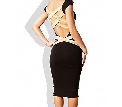 Vestido de mujer ajustado color negro con espalda de rayas doradas mod. SOLANA - M