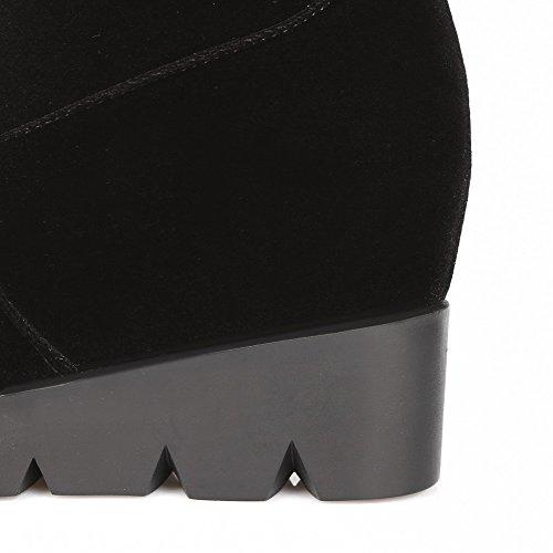 AllhqFashion Mujer Sintético Puntera Cerrada Sólido Botas Negro-Cuña