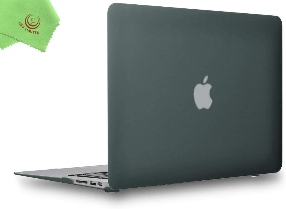 UESWILL MacBook Air 13 inch Case, Smooth Touch Matte Hard Shell Case Cover for Older Version 2010-2017 Release MacBook Air 13 inch (Model: A1466 & A1369) + Microfibre Cleaning Cloth, Midnight Green