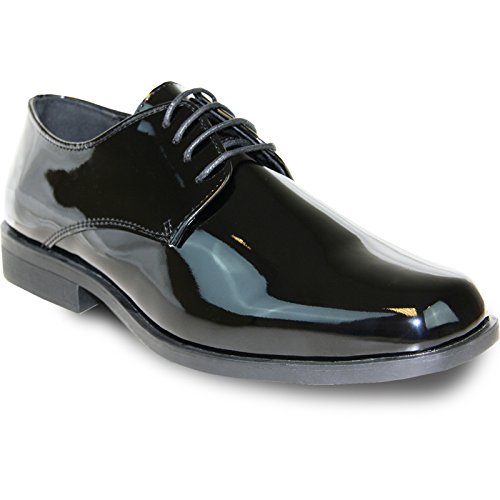 VANGELO Men's Tuxedo Shoes TUX-1 Wrinkle Free Dress Shoes Formal Oxford - Wide Width Available,13 E(W) US,Black Patent -