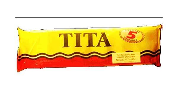 Amazon.com: Tita Galletitas Dulce Sabor Limon y Baño de Chocolate (Sandwich Cookies Lemon Flavor Dipped in Chocolate) Package 3.17oz Containig 5 units ...