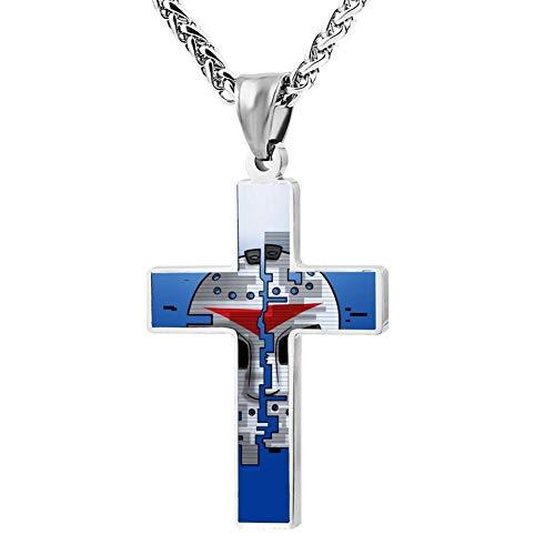 DIYNECKLACE H20-mask-Delirious Couples Jesus Christ Zinc Alloy Chain Crucifix Cross Pendant Cool Cloth Accessories Love Token for Unisex Adults Kids Teens]()