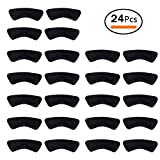 Nanooer 12 Pairs Heel Cushion Pads Heel Shoe Grips Liner Self-Adhesive Shoe Insoles Foot Care Protector (Black, One Size)