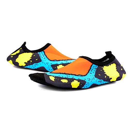 on sale f8480 4a318 ... TZTONE Unisex Schwimmen Schuhe Barfuß Quick-Dry Wasserschuhe TZT-SS999  Orange ...