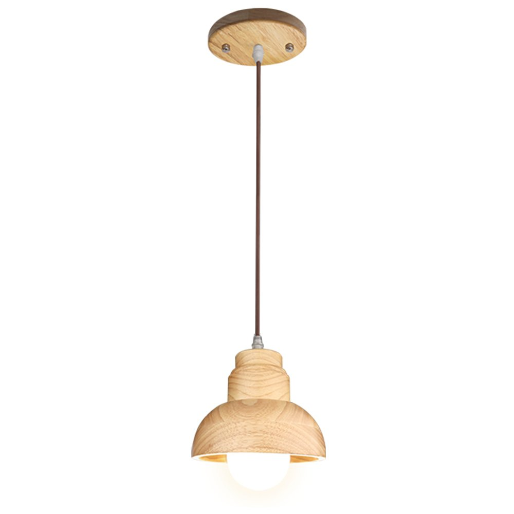 Wood Pendant Light, Aooshine 1-Light Modern Ceiling Lights, Solid Wooden Pendant Lamp Fixture for Kitchen Island Dining Table (Pack of 1)