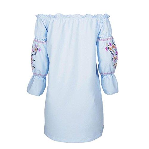 Ouneed Moda mujer floral de hombro mini vestido de fiesta de verano Beach Azul