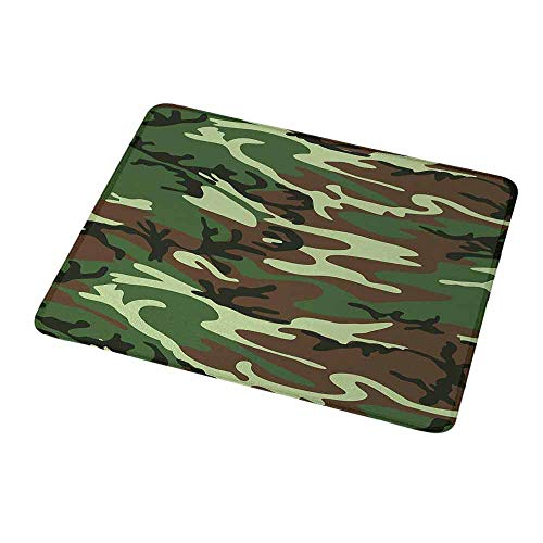 (Portable Mouse pad Custom Camo,Classical American Commando Uniform Inspired Pattern Forest Tile,Forest Green Light Green Brown,Non-Slip Rubber Mousepad 9.8