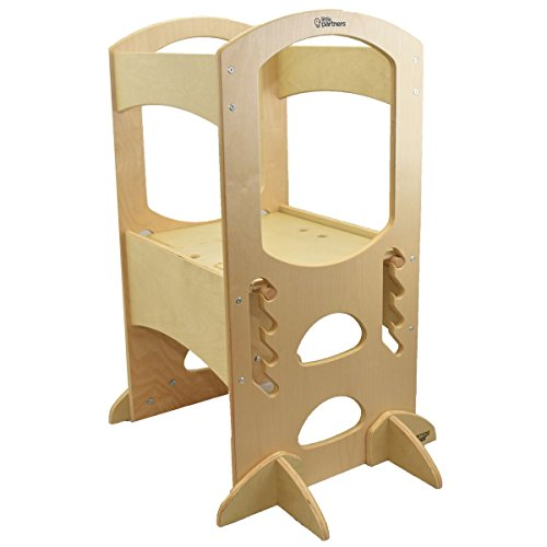 Little Partners Learning Tower Kids Adjustable Height Kitchen Step Stool for Toddlers or Any Little Helper - Natural by Little Partners