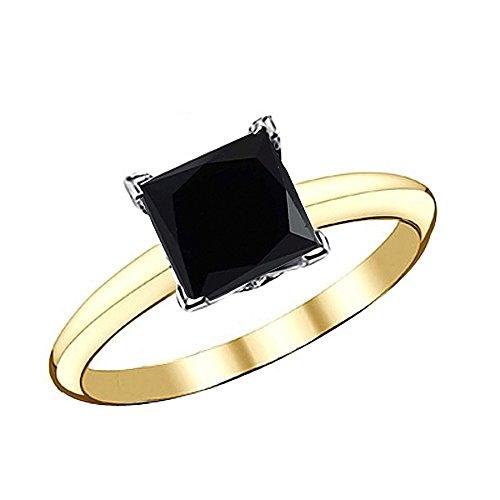 1.5 Carat Black Princess Square Diamond Solitaire Engagement Bridal Ring 14K White & Yellow Gold