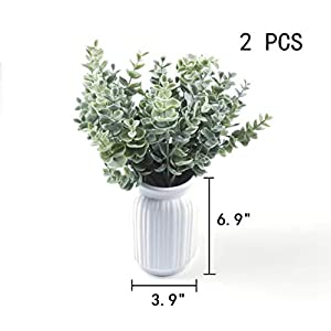 Nolast Artificial Greenery Plastic Plants Faux Shrubs Eucalyptus Fake Bushes Flowers Indoor Outdoor Garden Home Office Decor 3pcs 5