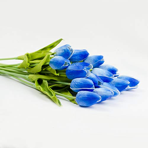 Packozy-20-pcs-PU-Real-Touch-Artificial-Tulip-Flowers-133-for-Home-Wedding-Party-DecorEasy-to-Clean-Blue