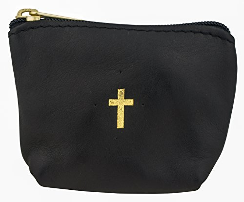 Cross Italian Black (Genuine Italian Leather Rosary Pouch (Black))