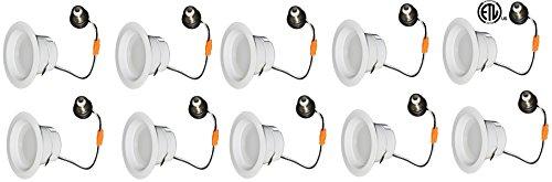 10-Pack LEDQuant 8Watt 3''- Inch ENERGY EFFICIENT ETL-Listed Dimmable LED Downlight Retrofit Baffle Recessed Lighting Kit Fixture, 3000K Warm White LED Ceiling Light Damp Location -- 600LM by LEDQuant