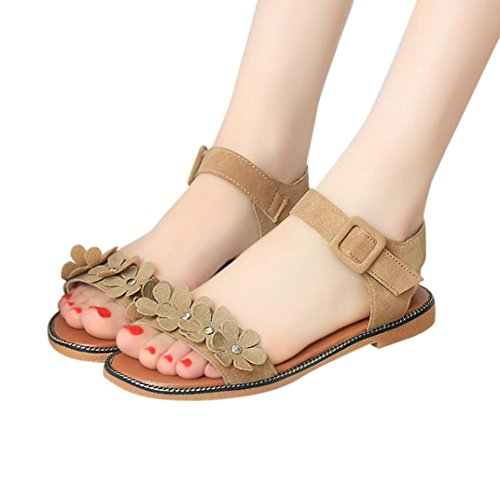 Tefamore Women Summer Bohemia Flower Decoration Simple Slippers W6JPNVNbe