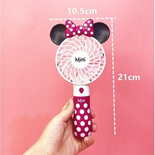 (Mifeer Cute Mickey Fan, Portable Handheld, with Rechargeable Built-in Battery 800mAH, USB Port Handy, Air Cooling Mini Fan, for Smart Home (Color : Pink))