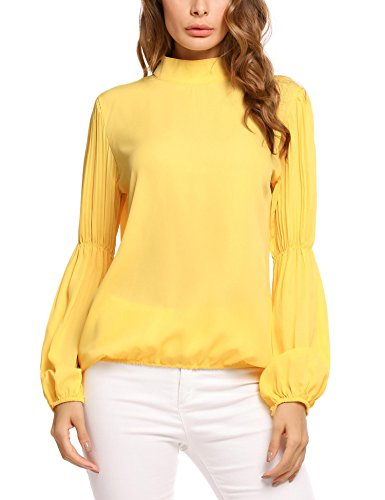 Soteer Women's Casual Pleated Lantern Long Sleeve Chiffon Blouse Mock Neck Top T Shirt (Yellow,S)