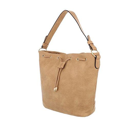 iTal-dEsiGn Damentasche Kleine Schultertasche Handtasche Kunstleder TA-A122-1 Beige Gelb