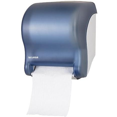 San Jamar t8000tbl tear-n-dry esencia manos libres dispensador de toalla de rollo - ártico azul: Amazon.es: Hogar