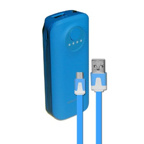 SYN 5200mAh Neon Power Battery Bank with USB Charging Cable in Blue