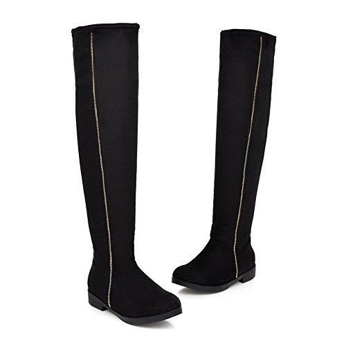 Amoonyfashion Mujeres Low Heels Sólido Redondo Cerrado Cerrado Con Cremallera Botas De Escarpín Negro