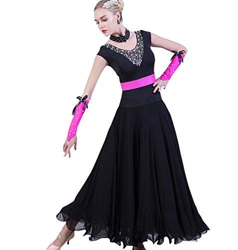 NAKOKOU Women Dance Ballroom Competition Dresses Modern Waltz Foxtrot Standard Ballroom Dress Costume 1 Set(Black,XXXL)