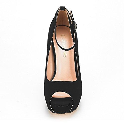 Heel Black Shoes Swan Nubuck High 10 PAIRS DREAM Plaform Dress Womens Pump Uq6wUZ