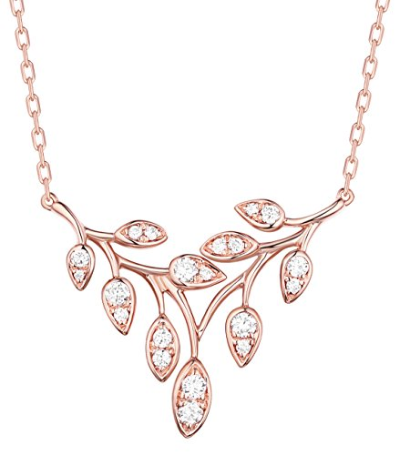 Prism Jewel 0.25 Carat G-H/I1 Natural Diamond Olive leaf Delicate Chain Necklace, 14k Rose Gold ()