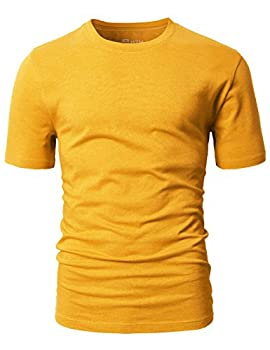 H2h Mens Basic Fashion Crew-neck T-sihrt Mustard Us Lasia Xl (Cmtts0198) 2