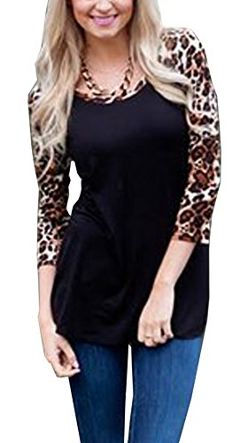 Relipop Women Casual T-shirt 3/4 Sleeve Leopard Print Blouse (Small, Black) (4 Leopard)