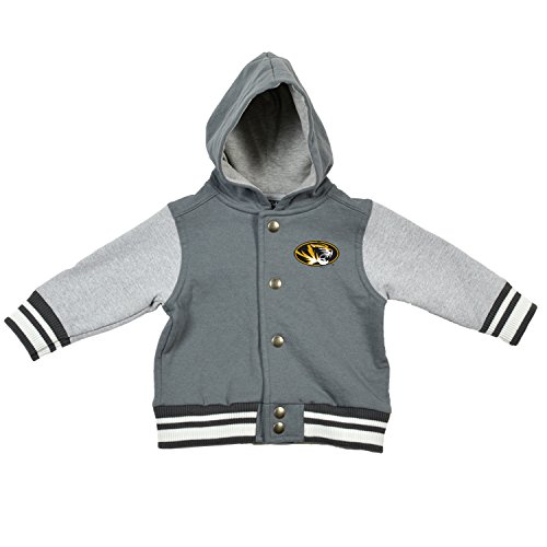 NCAA Missouri Tigers Children Unisex Infant Letterman Jacket, 12 Months, Pewter/Oxford