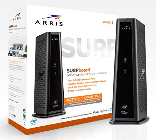 ARRIS Surfboard Docsis 3.1 Gigabit Cable Modem Plus AC2350 Dual Band Wi-Fi Router, Certified for Xfinity, and Cox 1 GB Service (SBG8300)