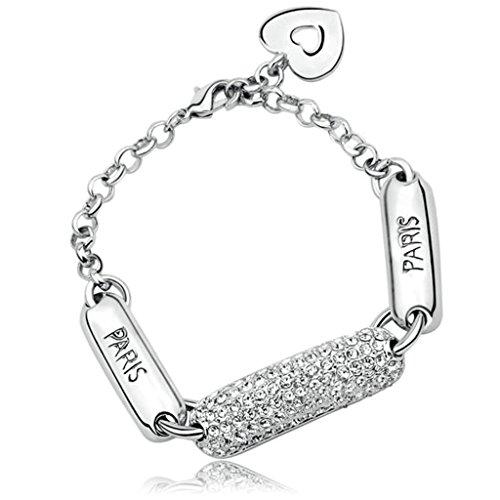 Daesar Gold Plated Women Charm Bracelet Heart White CZ Bracelet