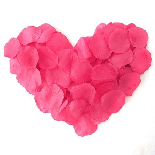 EMAXELER [Broken Girls Flowers]1000pcs Deep Pink Silk Rose Flower Petals for Wedding Table Confetti Bridal Party Flower Girl Decoration 1000pcs Deep Pink ()