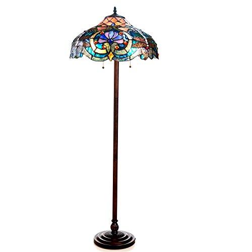 """LYDIA Tiffany-style 2 Light Victorian Floor Lamp 17"""" Shade"""