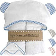 Premium Baby Boy Towel and Washcloth Set - Choose Blue, Pink or Beige with White - Hooded Towel for Kids, Babies, Toddlers - Organic Bamboo Baby Towels with Hood