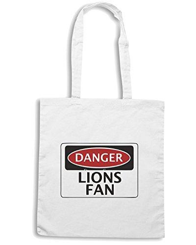 T-Shirtshock - Bolsa para la compra WC0298 DANGER LIONS FAN FAKE FUNNY SAFETY SIGN SIGNAGE Blanco